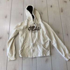 womens XL oneill zip up sweatshirt hoodie cream